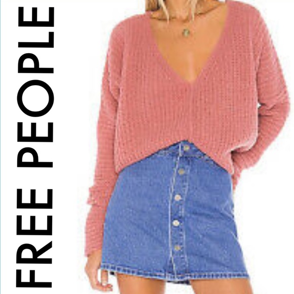 FREE PEOPLE NWT ROSE PINK LIGHTWEIGHT SWEATER L